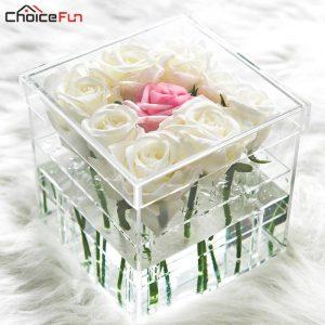 Lucite Flower Box - 12 Rose Silver Shimmer