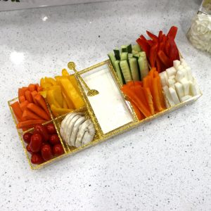 Lucite Sectional (Simanim) Tray Gold Shimmer No