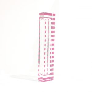 "Lucite Stripe Mezuzah Case 5"" White"