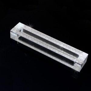 "Lucite Shimmer Mezuzah Case 5"" Silver Shimmer"