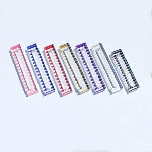 "Lucite Stripe Mezuzah Case 6"" Silver"